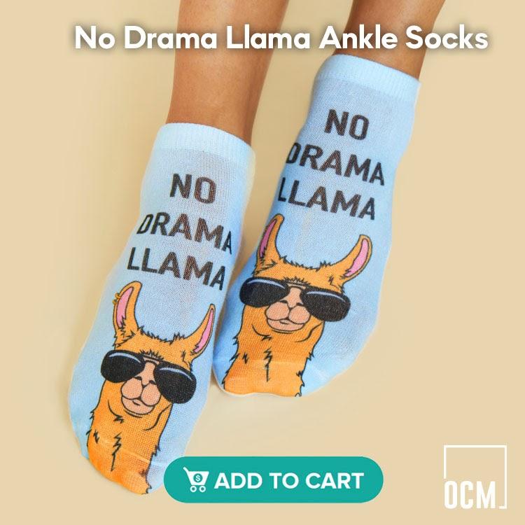 No Drama Llama Ankle Socks