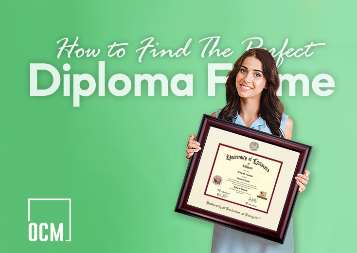 Woman holding diploma frame
