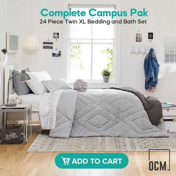 Complete Campus Pak - 24 Piece Twin XL Bedding and Bath Set