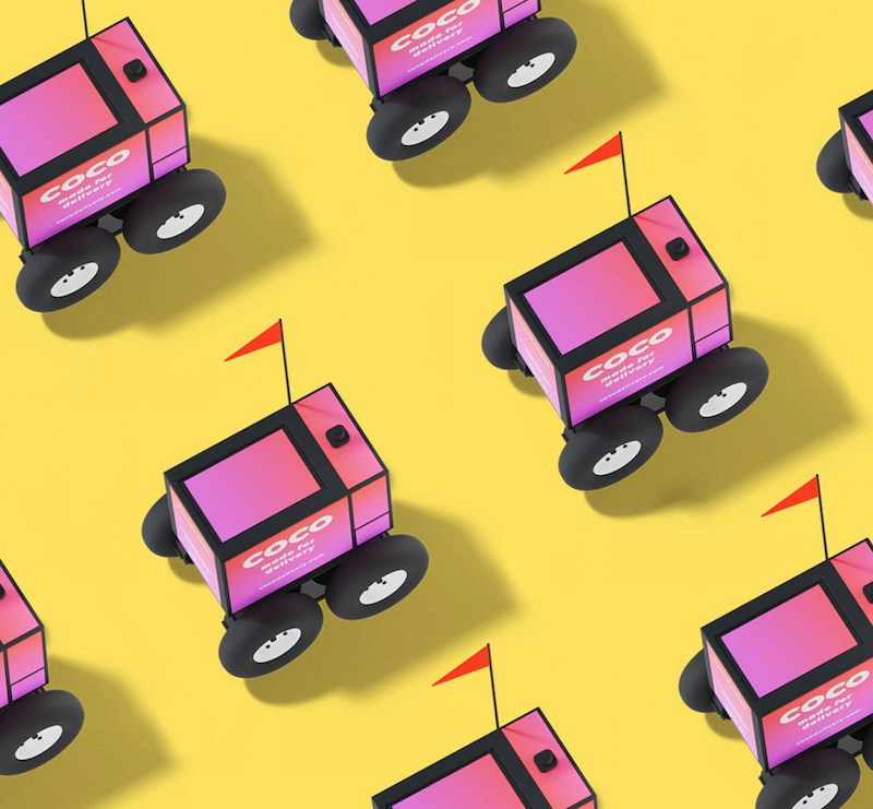 Coco Robot Pink Robots on Yellow Background