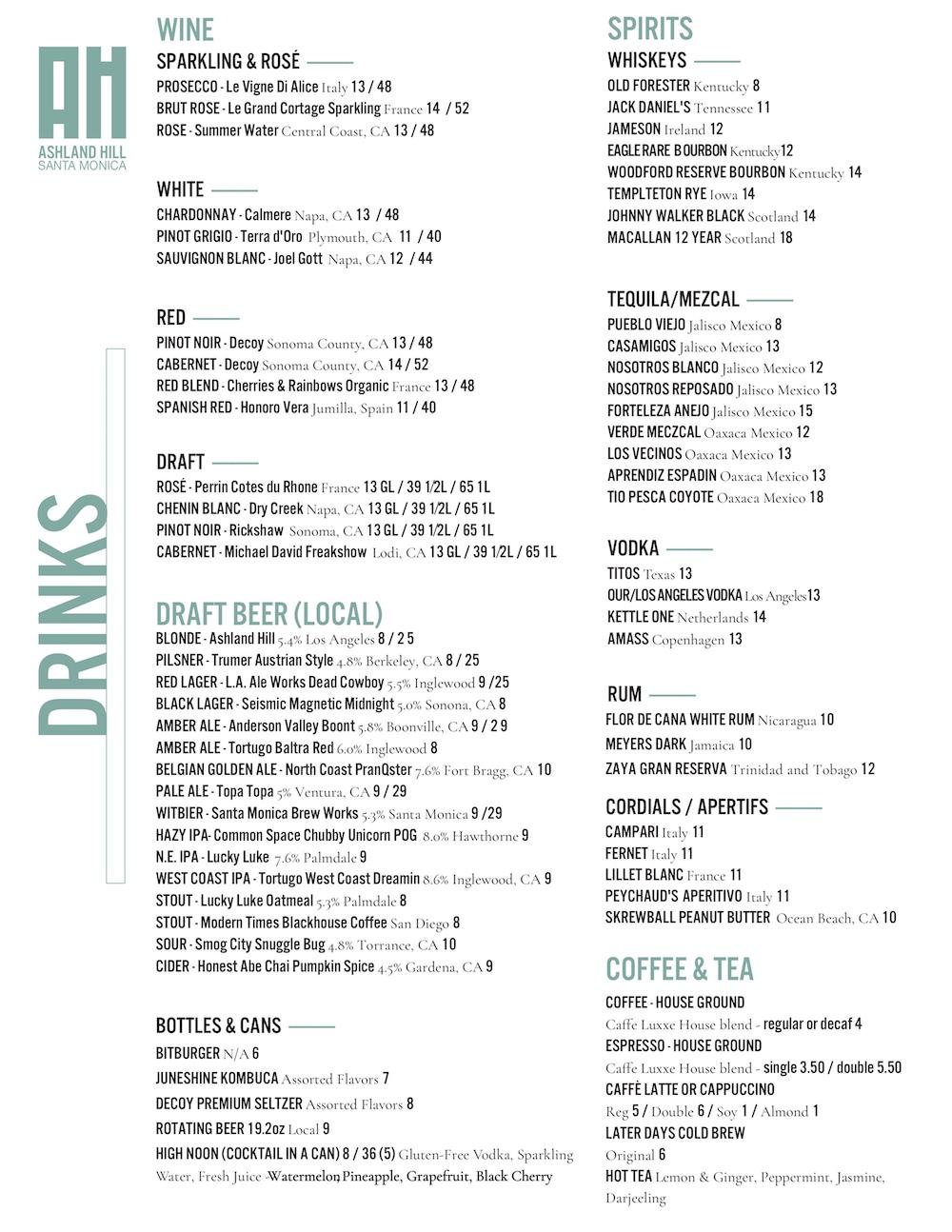 Ashland Hill Drinks Menu