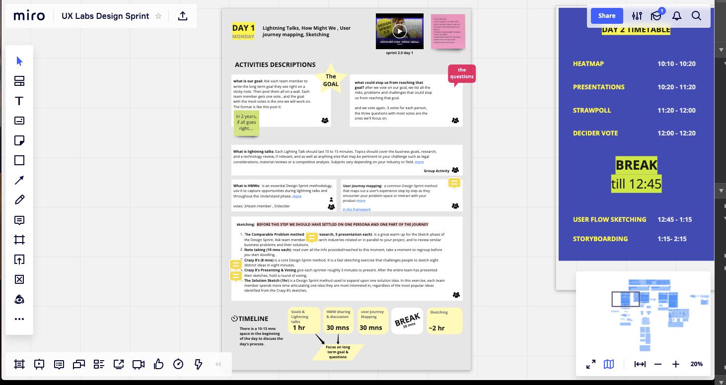 design sprint plan: day 1 miro board