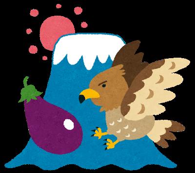 Hatsuyume of Mount Fuji, two hawks and three aubergines brings good luck