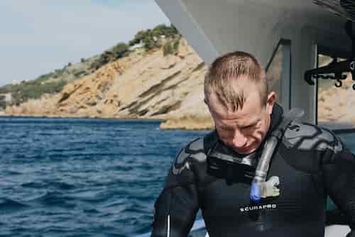 man in boat gear