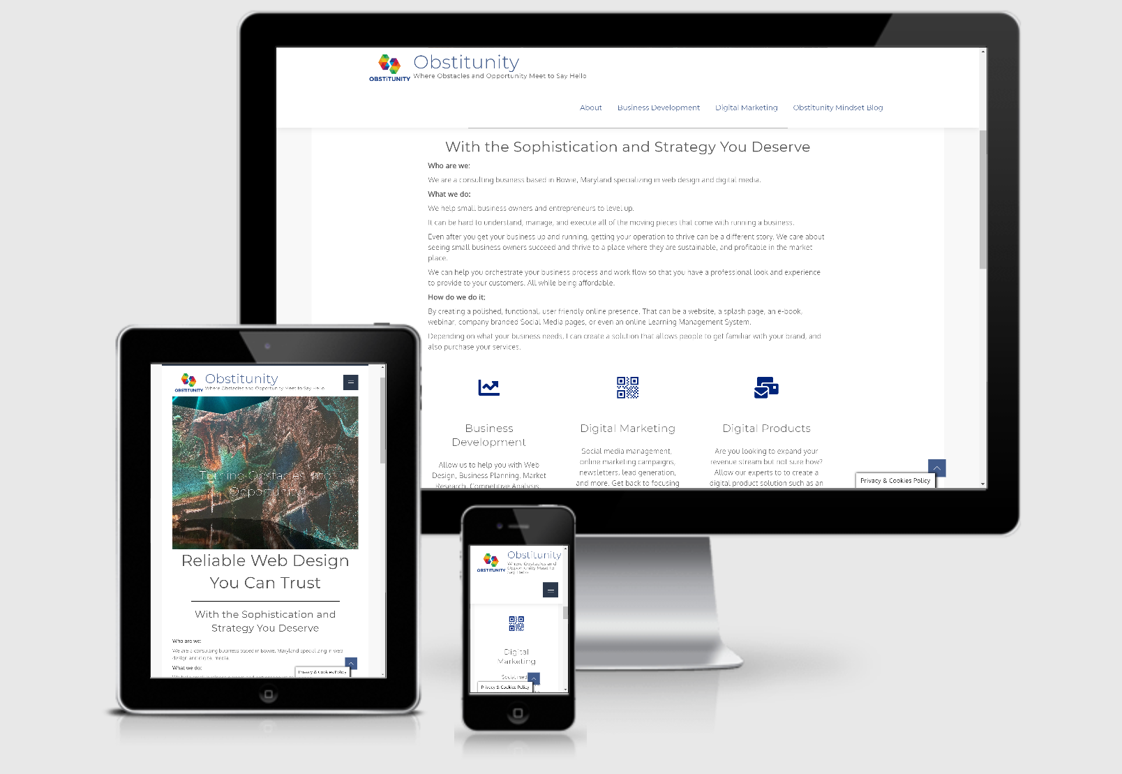 View of website on multiple digital devices.