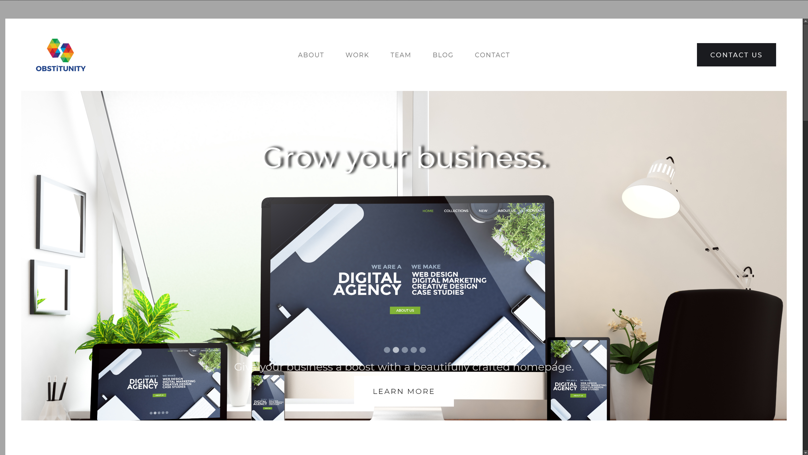 new website home page.