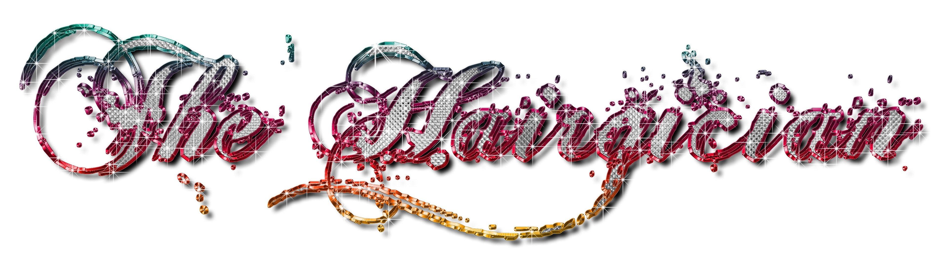 Styllized logo with script font and bling inside.