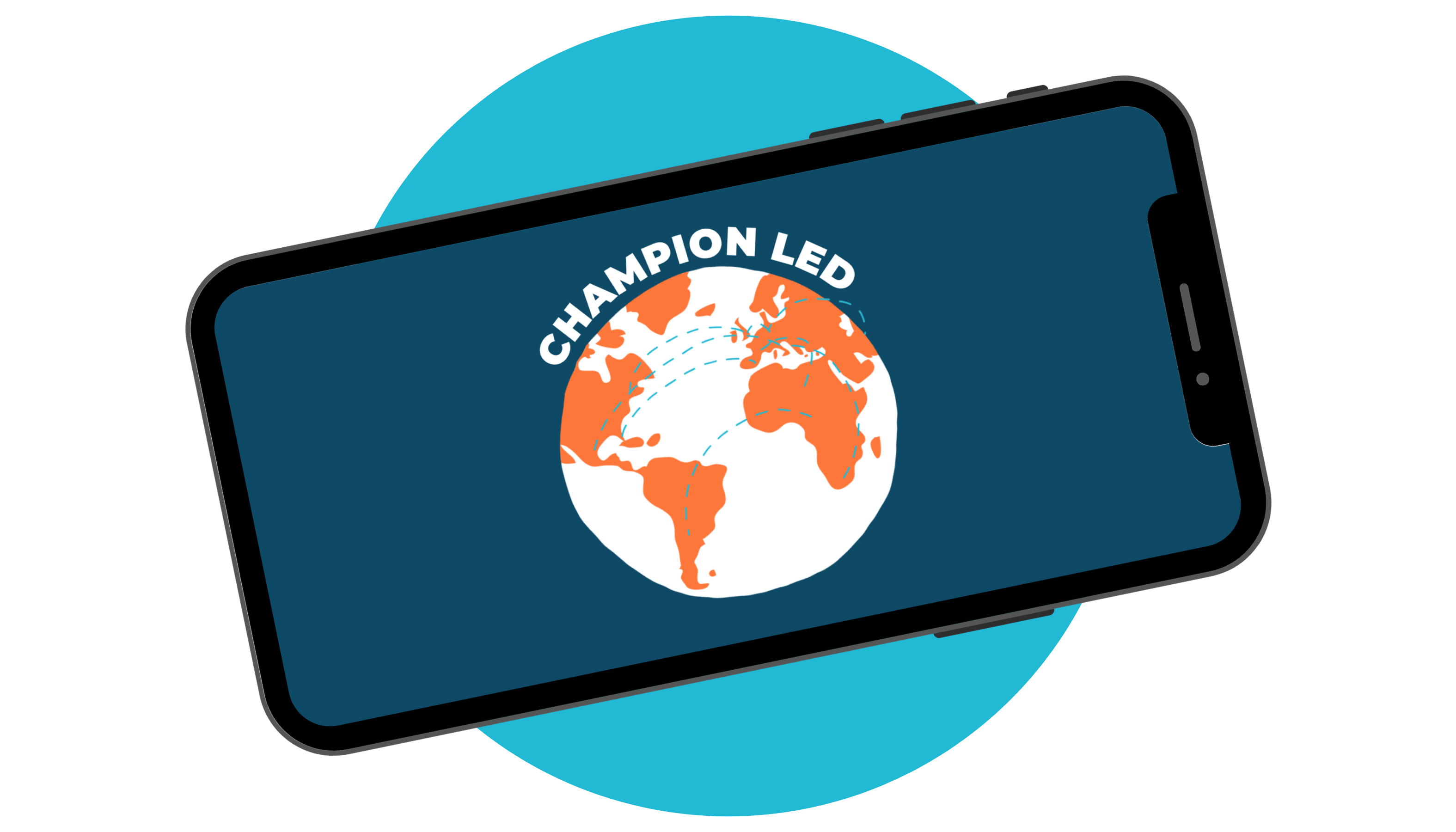 Champion Led logo on a phone