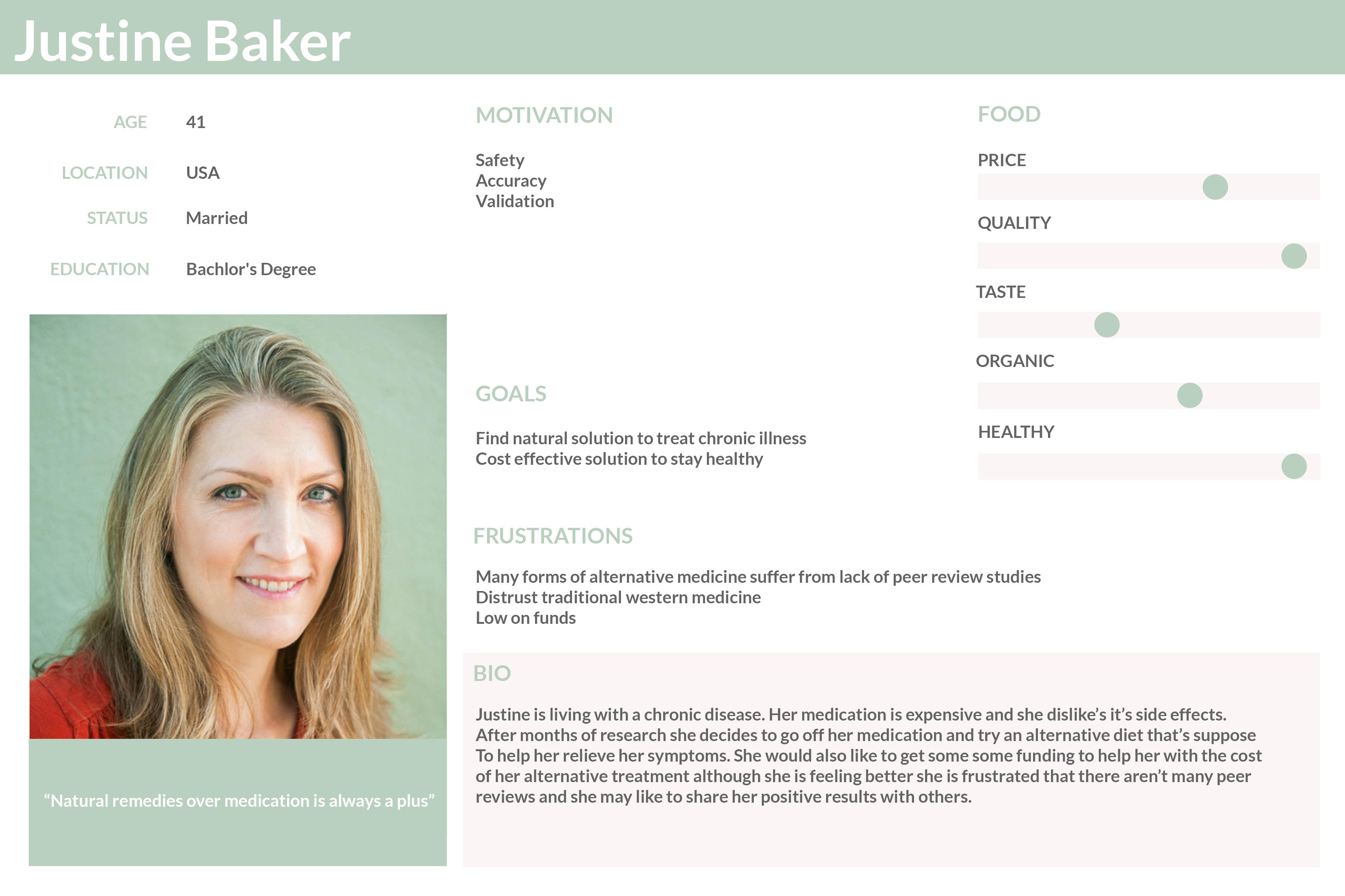 User Persona Justine Baker