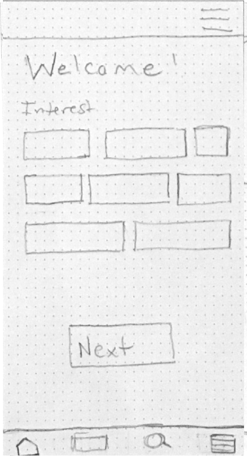 image of low fidelity wireframe for food med welcome page