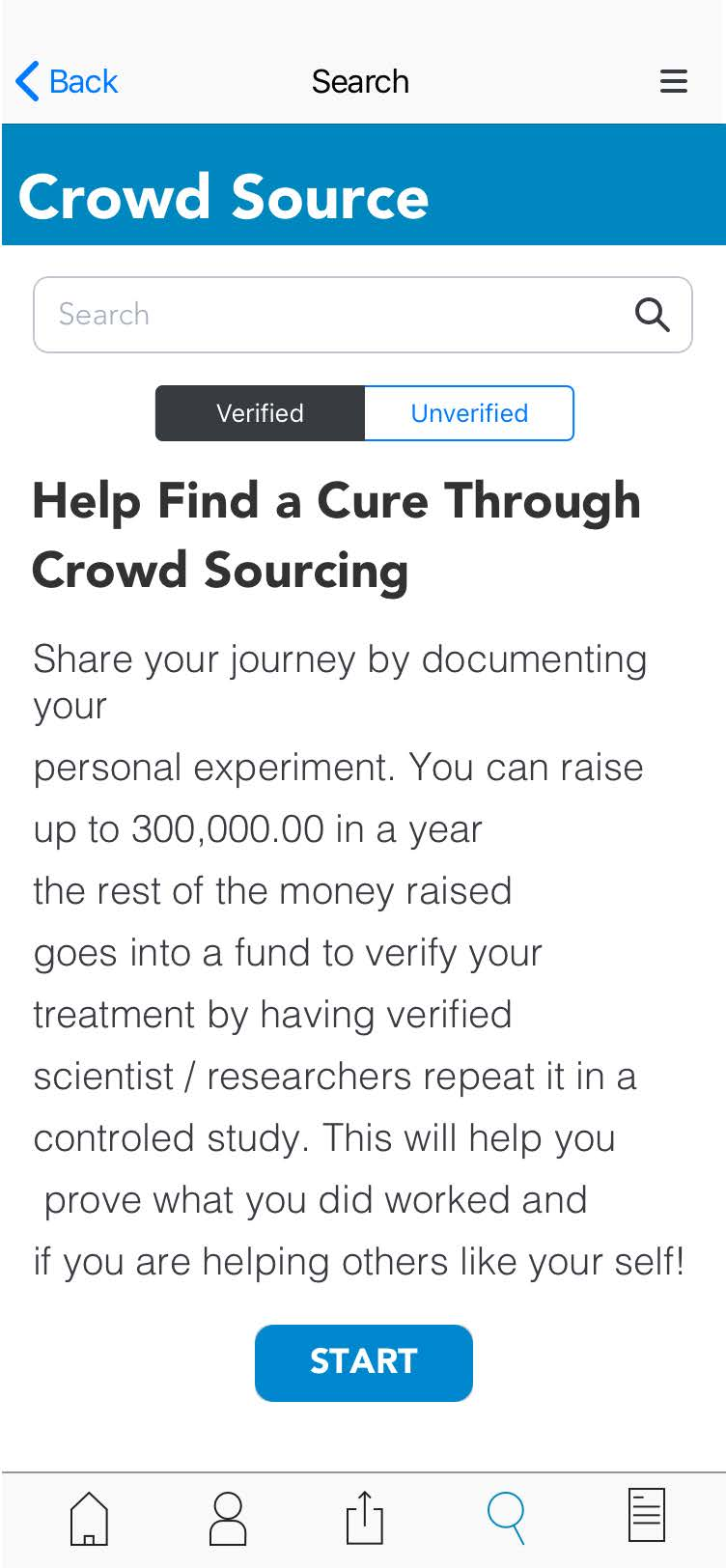 medium fidelity wireframe help find a cure through crowd sourcing