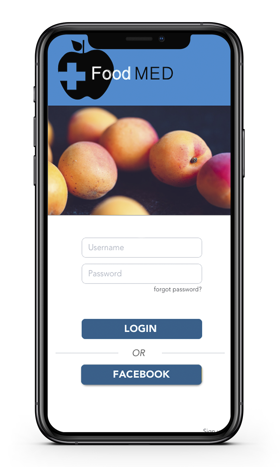 Image of Food med's login page after 2nd iteration