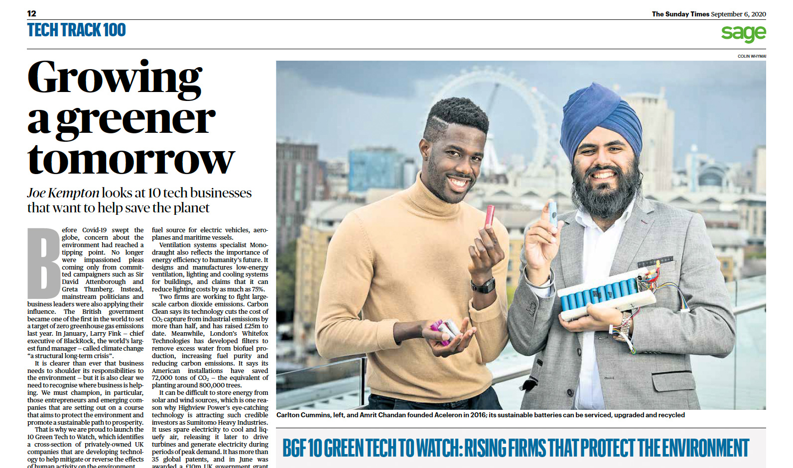 Sunday Times BGF 10 Green Tech to Watch 2020