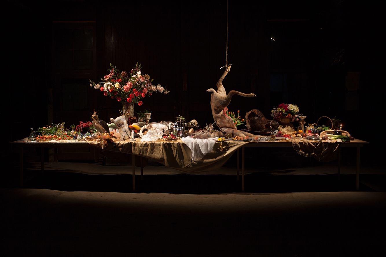 Emily Jan, After the Hunt, mixed media. 20' x 4' x 8'. 2014.