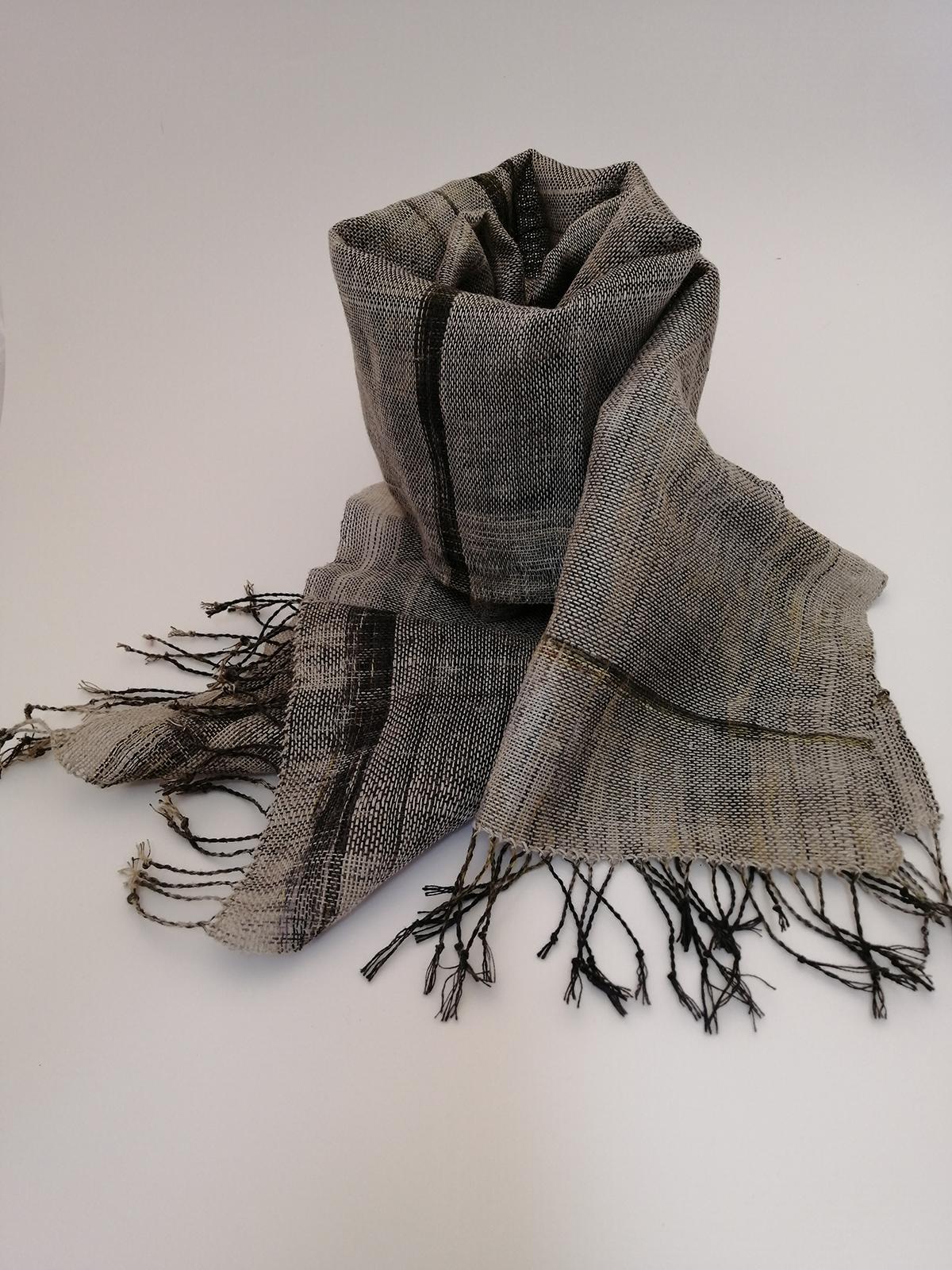 "Stephanie Jayce Stoker, Untitled (Scarf 1); Organic linen, natural dye & eco-printed warp, 12"" x 36"", 2020 (Photo Credit: Jennifer Cake)"