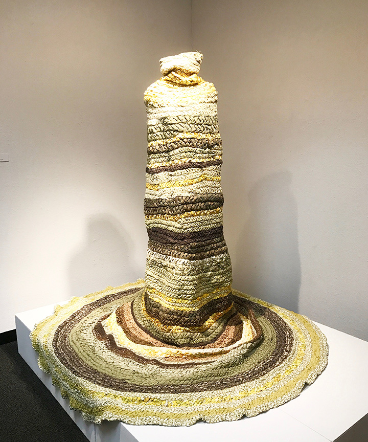 """Valerie Carew, Body Coiling, Reclaimed Textiles, 66"""" (W) x 74"""" (H), 2017"""
