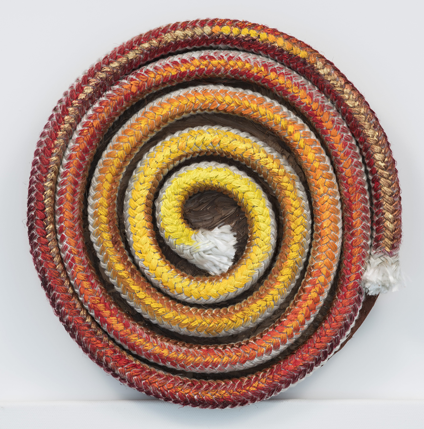 """Violet Rosengarten, India 1 (triptych, India, India, India), acrylic on rope on round canvas, 10"""" in diameter, 2015"""