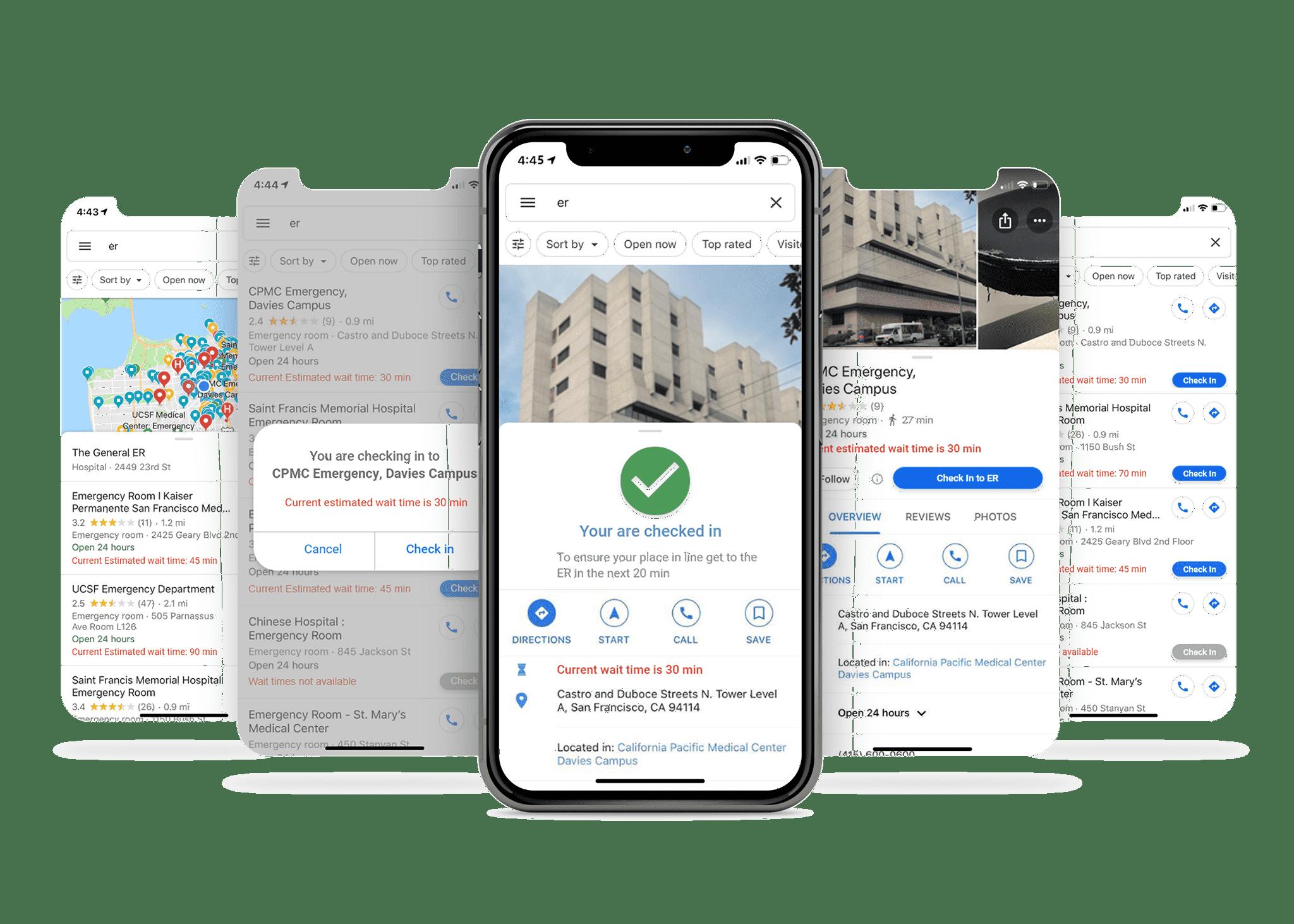 ER app mobile mocks