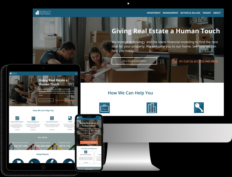 Responsive mockups of McRealty Partners website