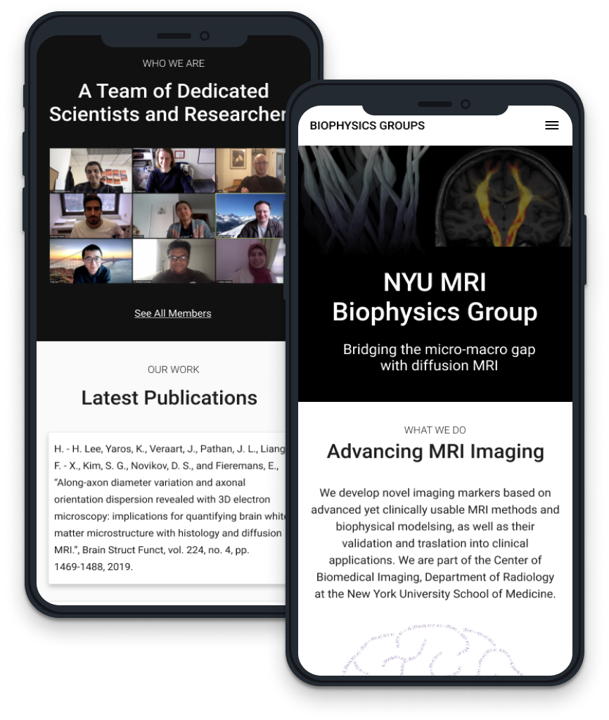 Mobile mockup screens of NYU lab website