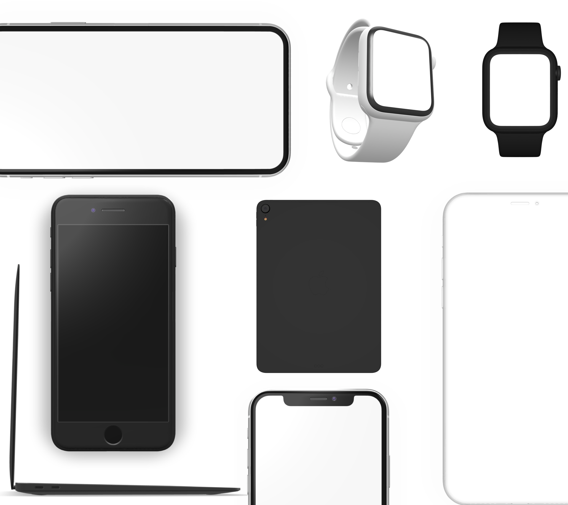 A set of mockups, including phones, watches, laptop and clay