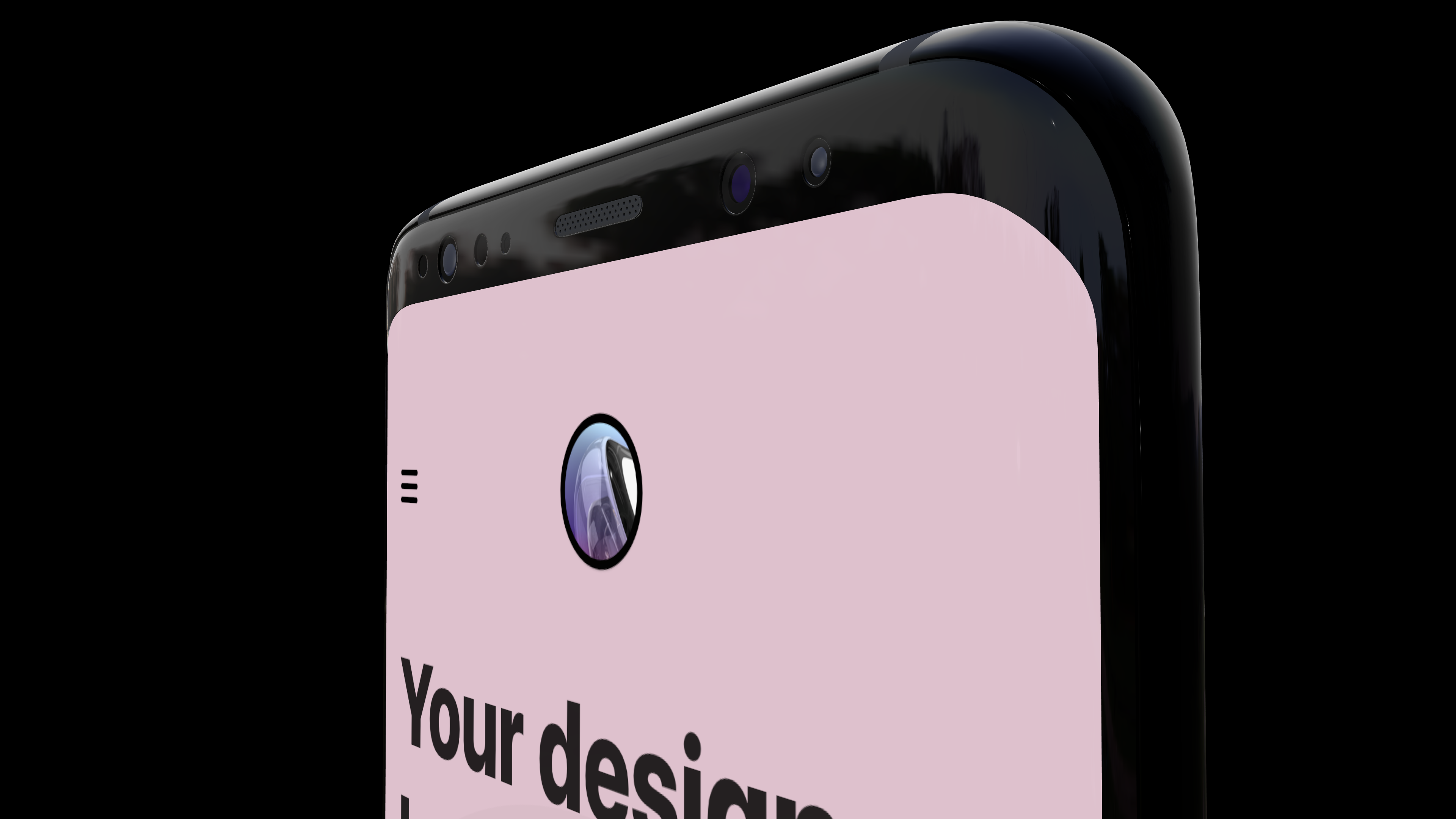 An Android phone mockup rotated and seen from the side