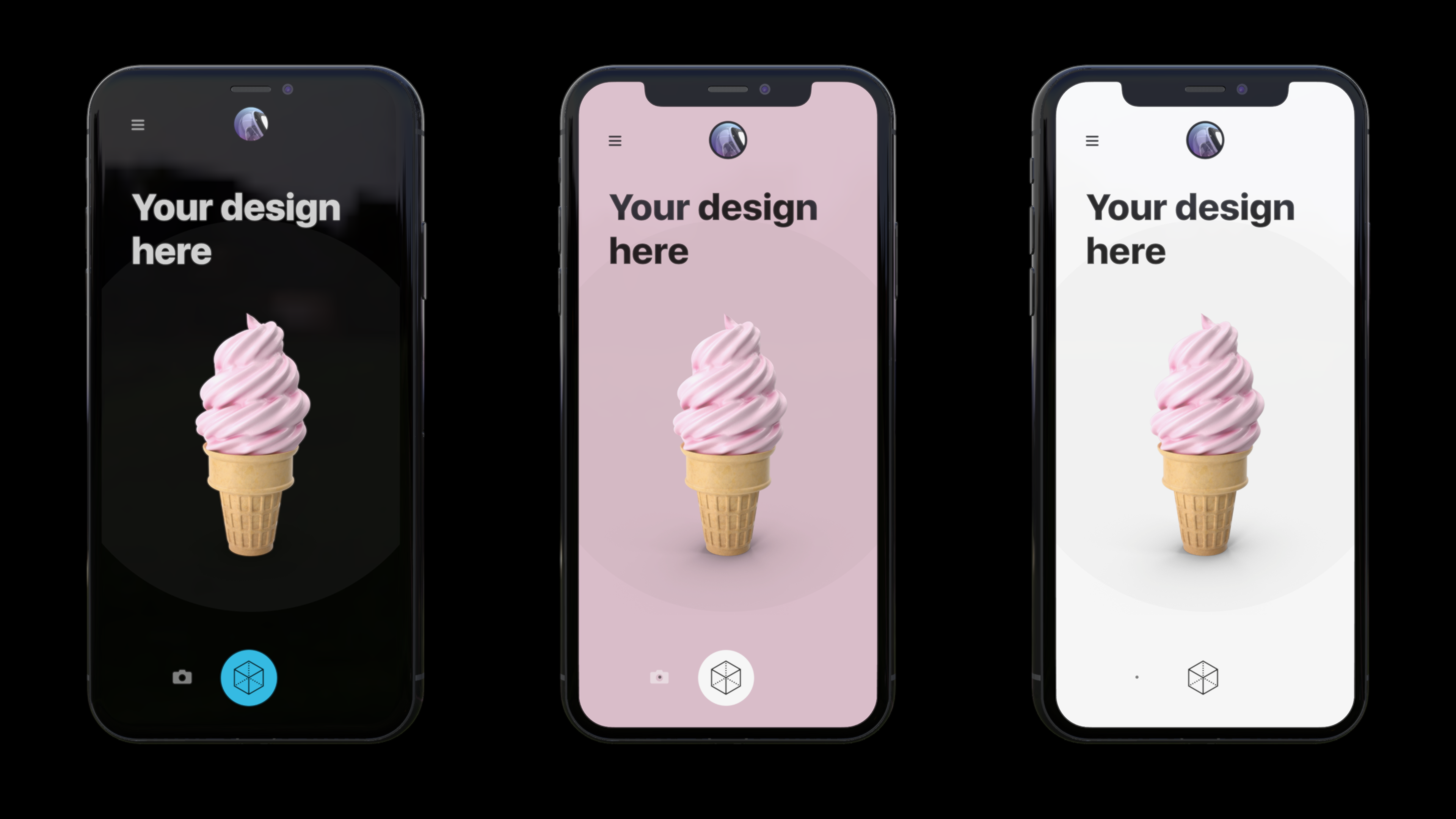 Three iphone mockups next to each other