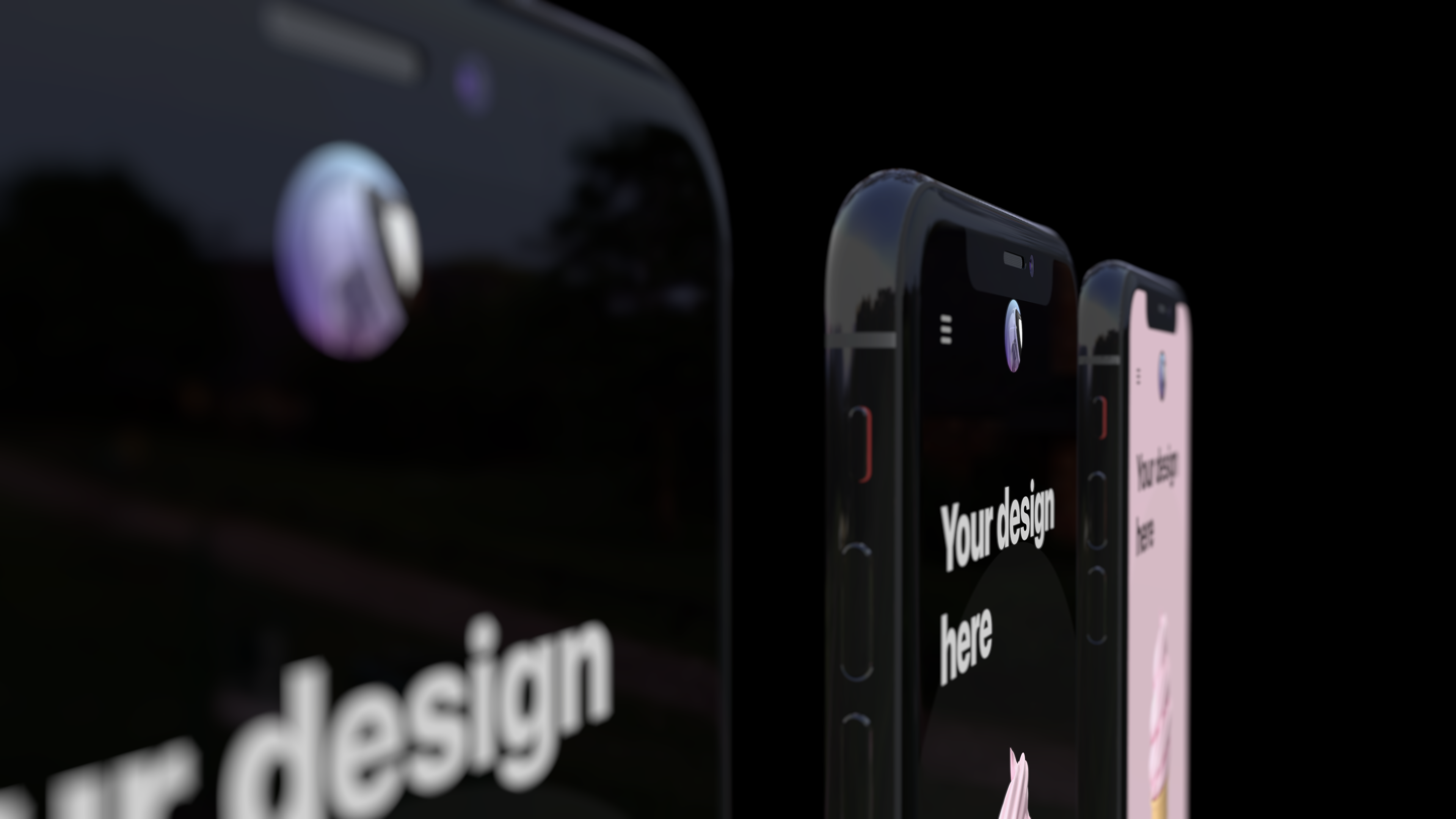 Three iPhone mockups from an angle with lens blur