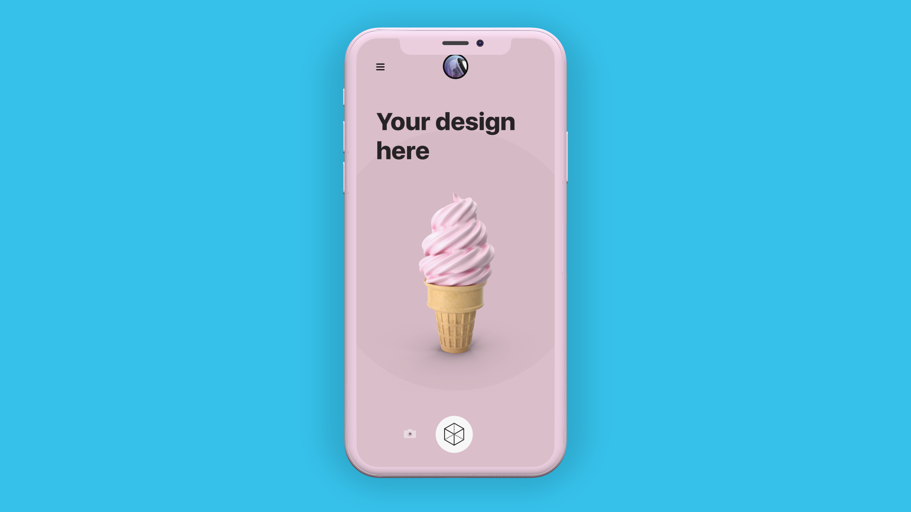 A clay iPhone mockup on blue background