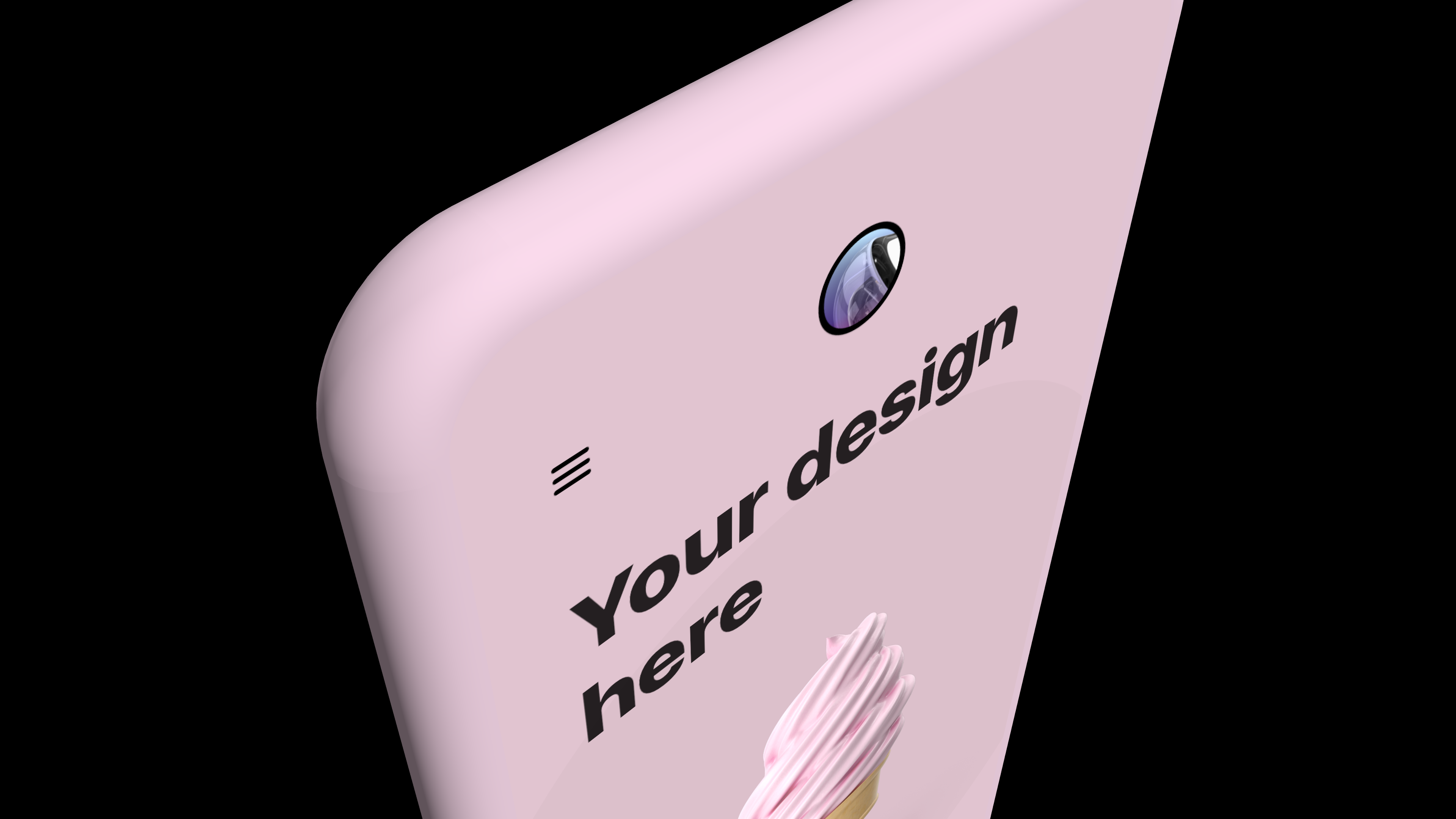A generic phone clay mockup in pink on black background
