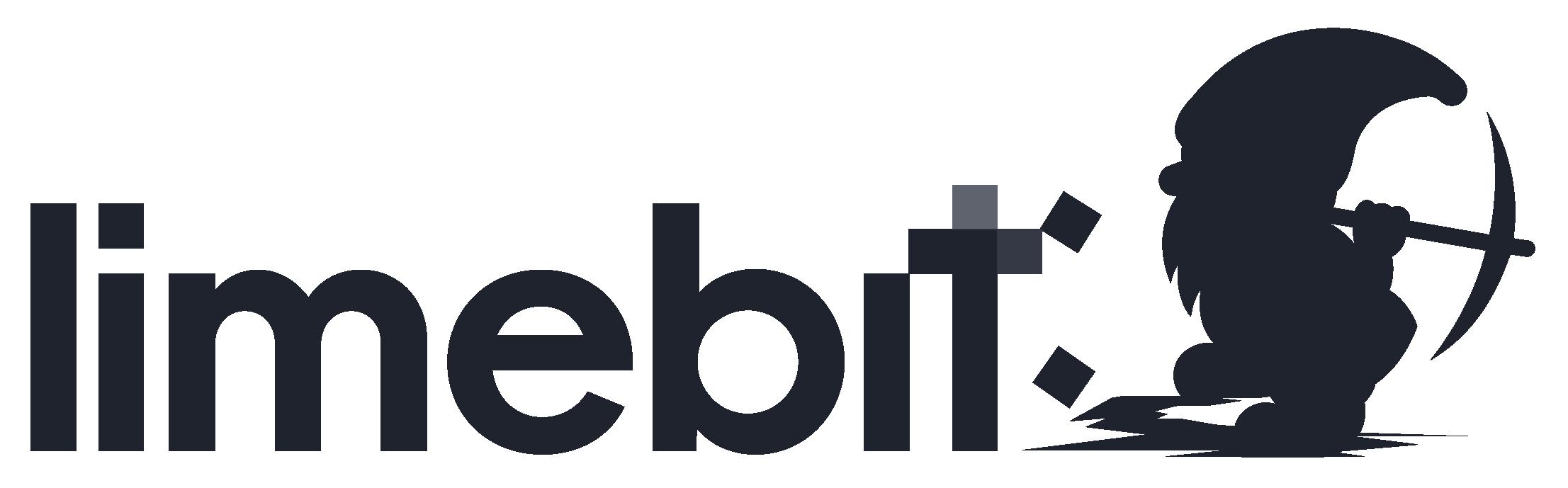 Limebit Logo - Zwerg mit Spitzhacke vor dem Schriftzug limebit