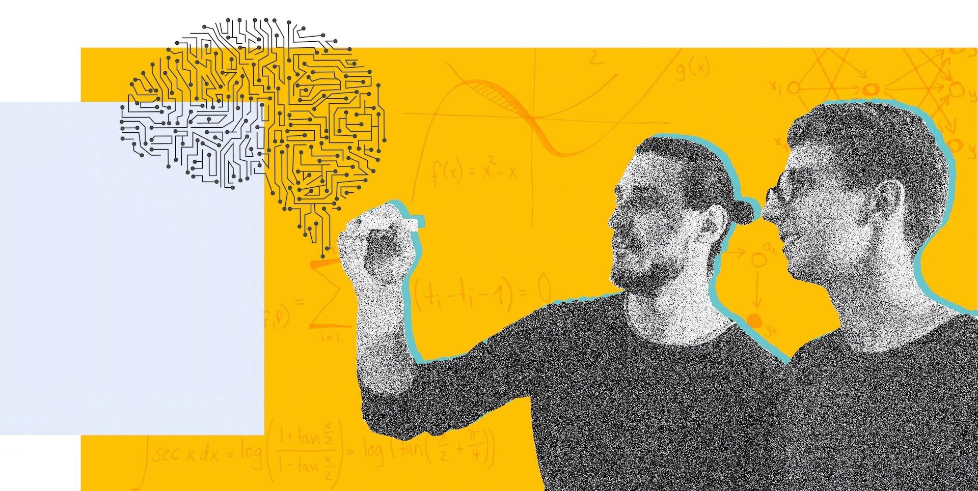 """2 Personen schreiben mit einem Stift den Schriftzug """"We do Data Science and Machine Learning."""""""