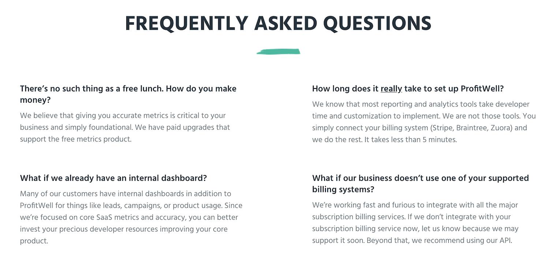 Profitwell FAQ page under billing