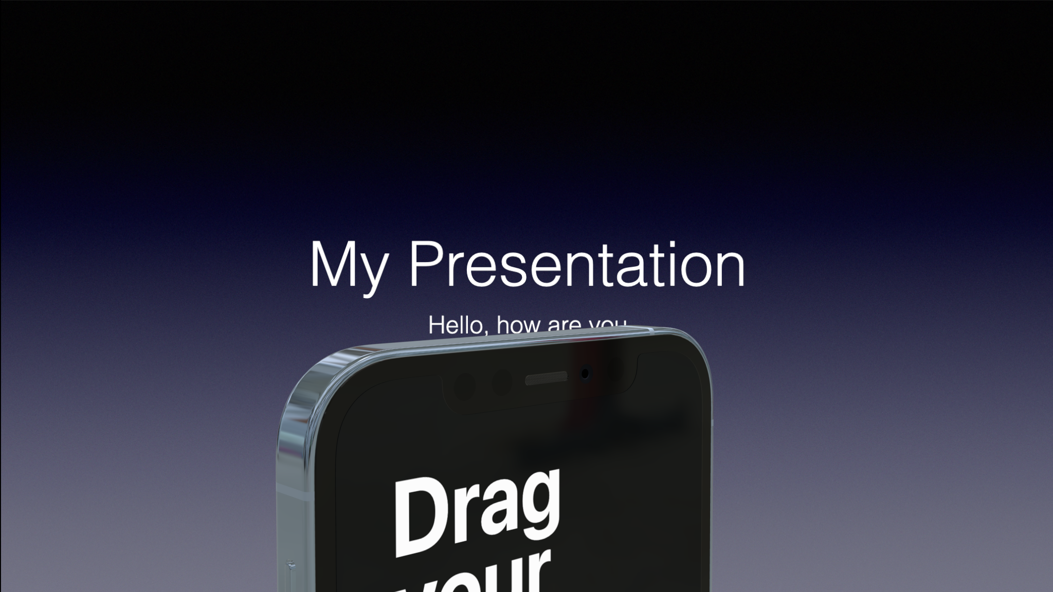 iPhone 12 Pro mockup in perspective in Keynote or Powerpoint with transparent background