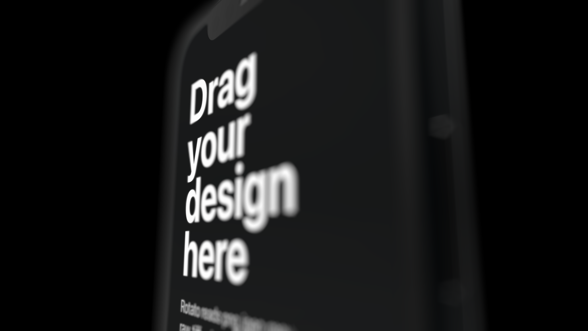 Black iPhone 12 mockup with depth of field