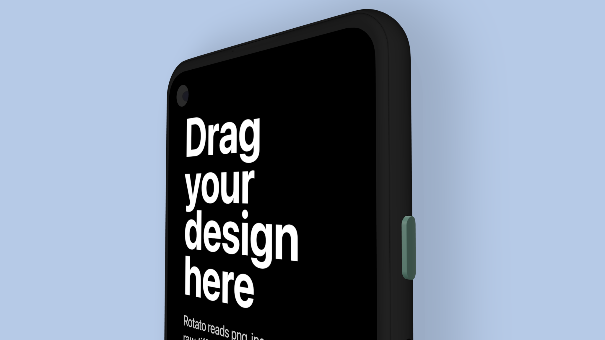 Google Pixel 4a mockup showing top part of screen