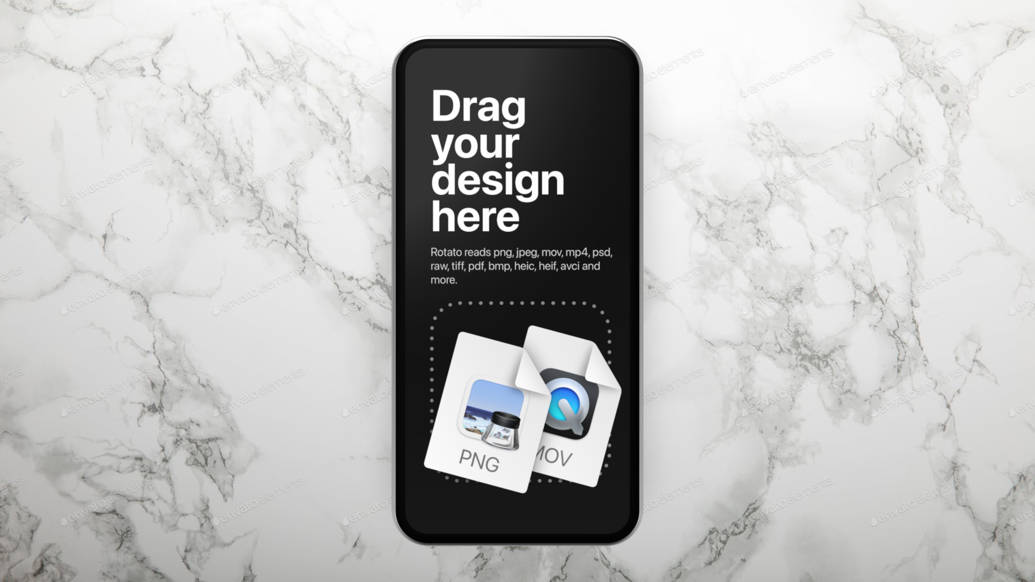 Generic phone mockup on marble background