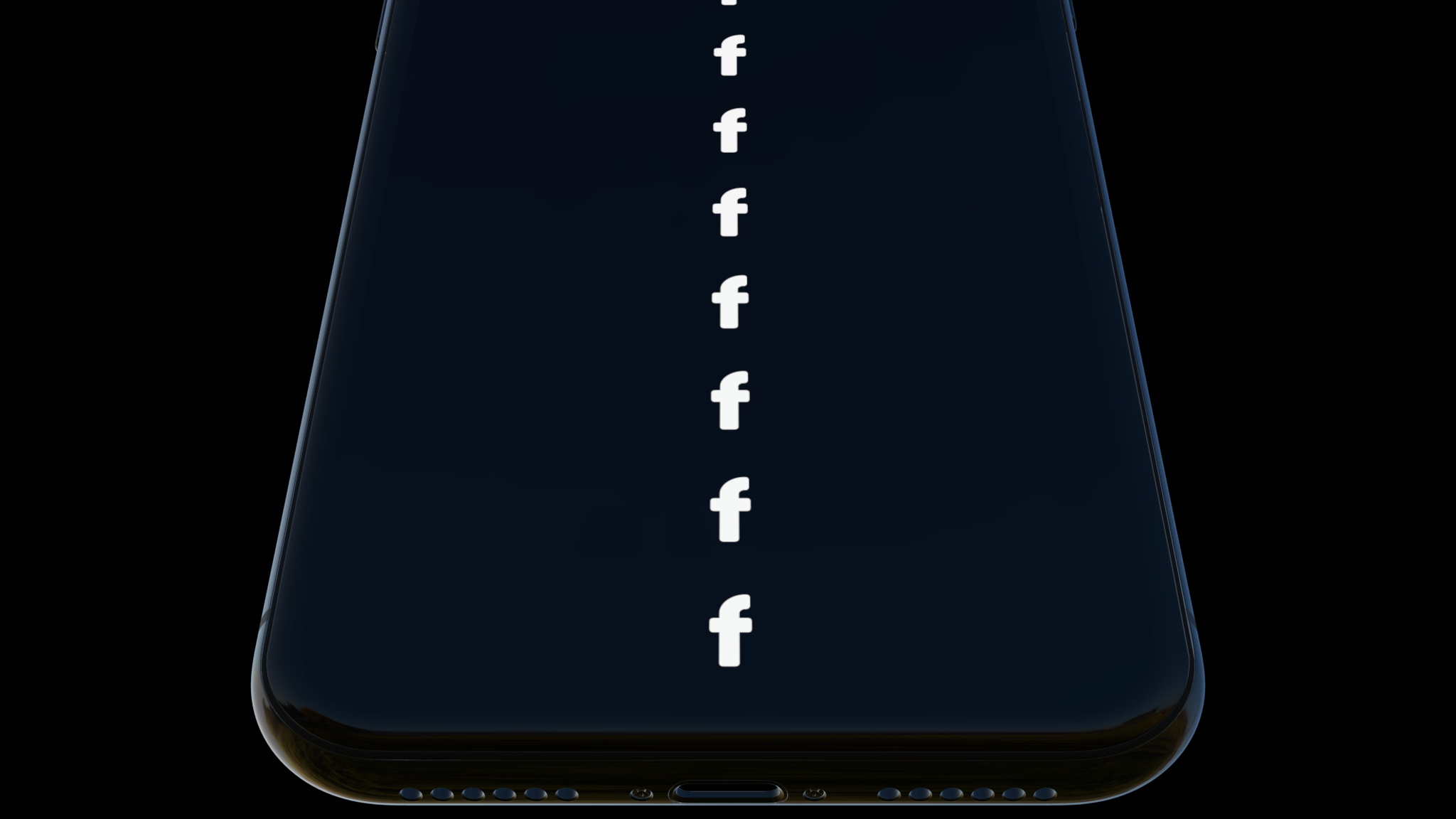 An iPhone mockup demonstrating no depth of field