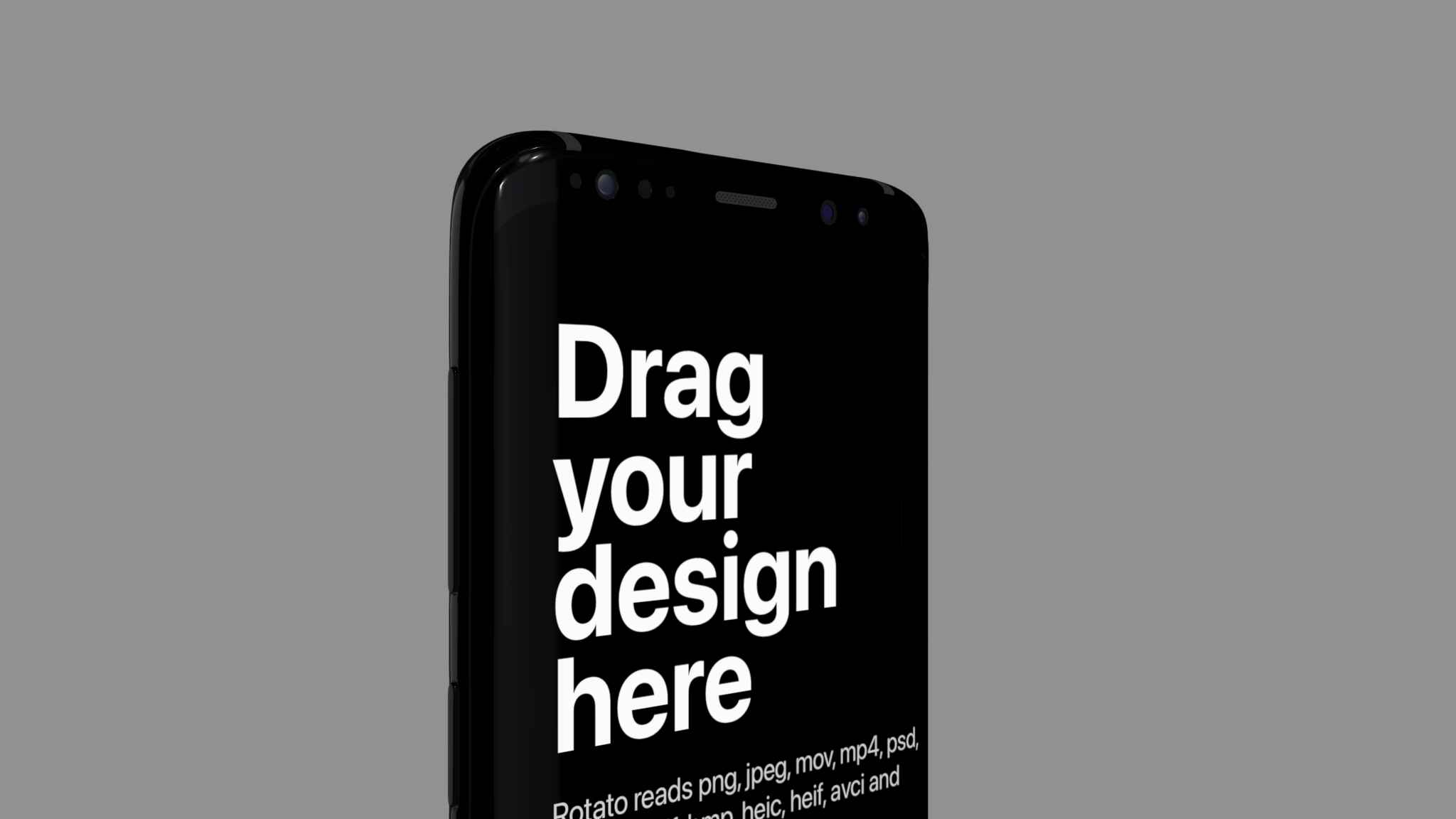 Rotated Android phone mockup showing top part of screen
