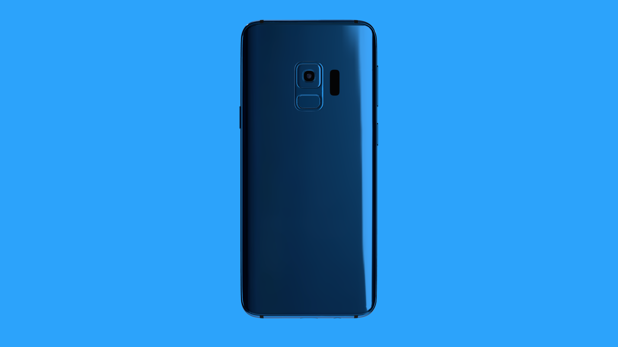 Blue Samsung phone mockup seen from back, in blue on blue background