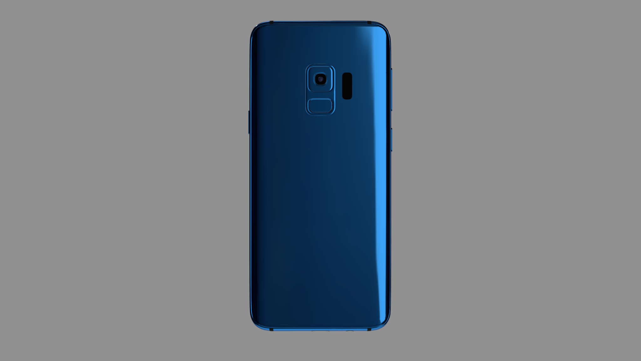 Blue colored Android phone mockup seen from the back