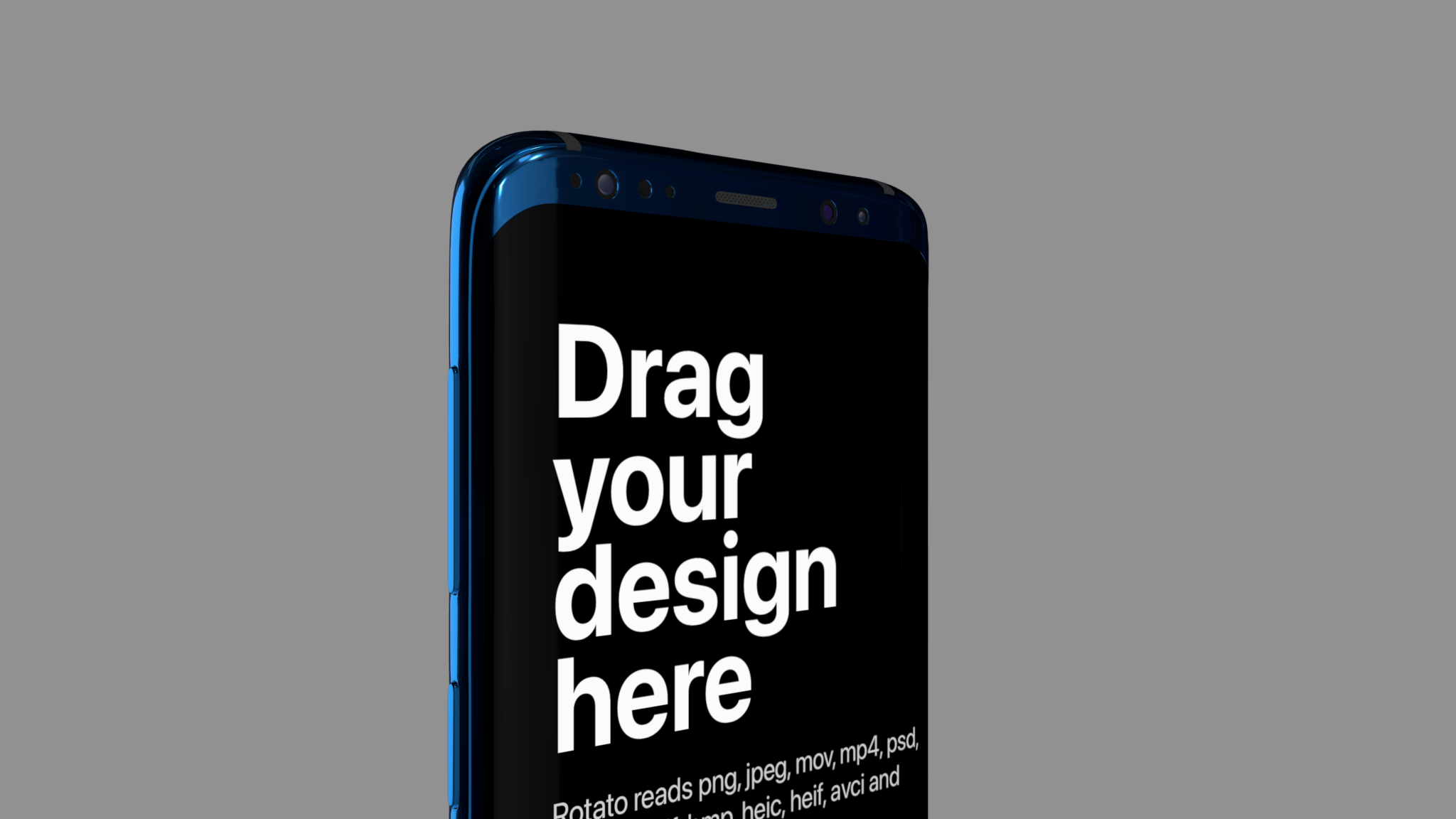 Blue colored Android mockup rotated, showing top part of scren