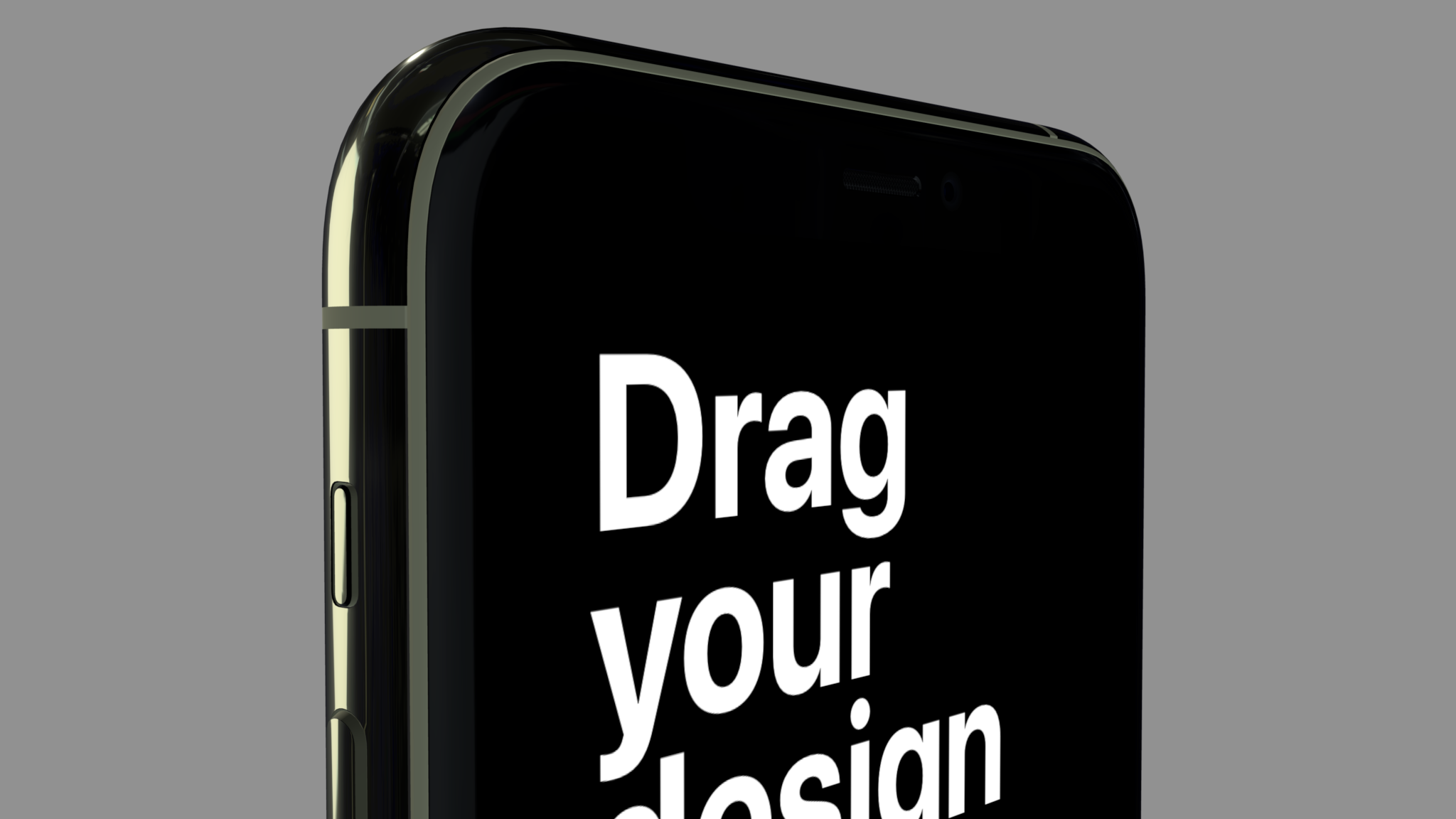Colored iPhone mockup showing top part of screen