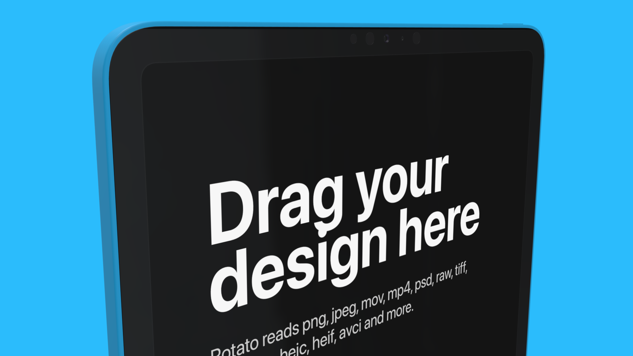iPad Mockup, rotated, on blue background