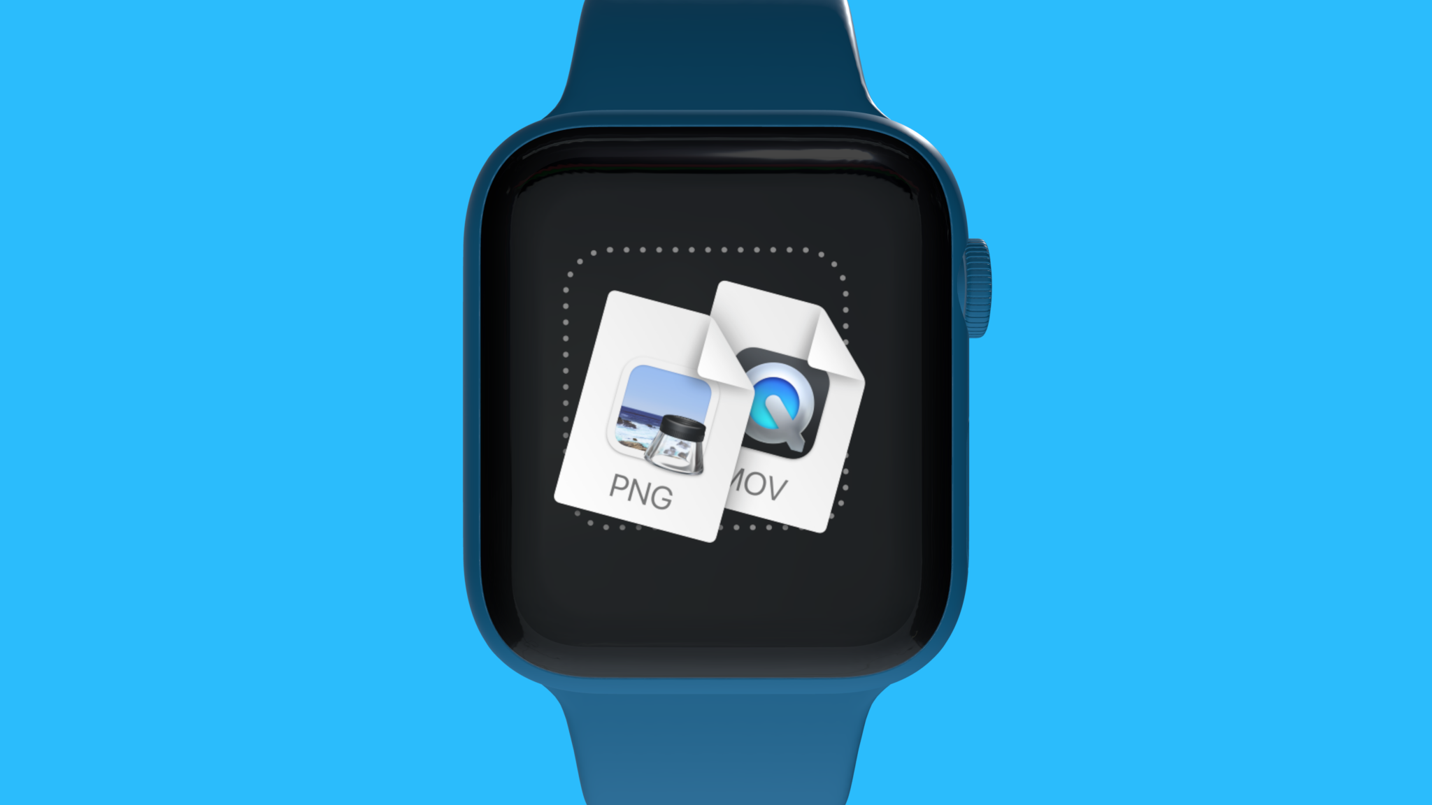 An Apple Watch mockup in blue, on blue background