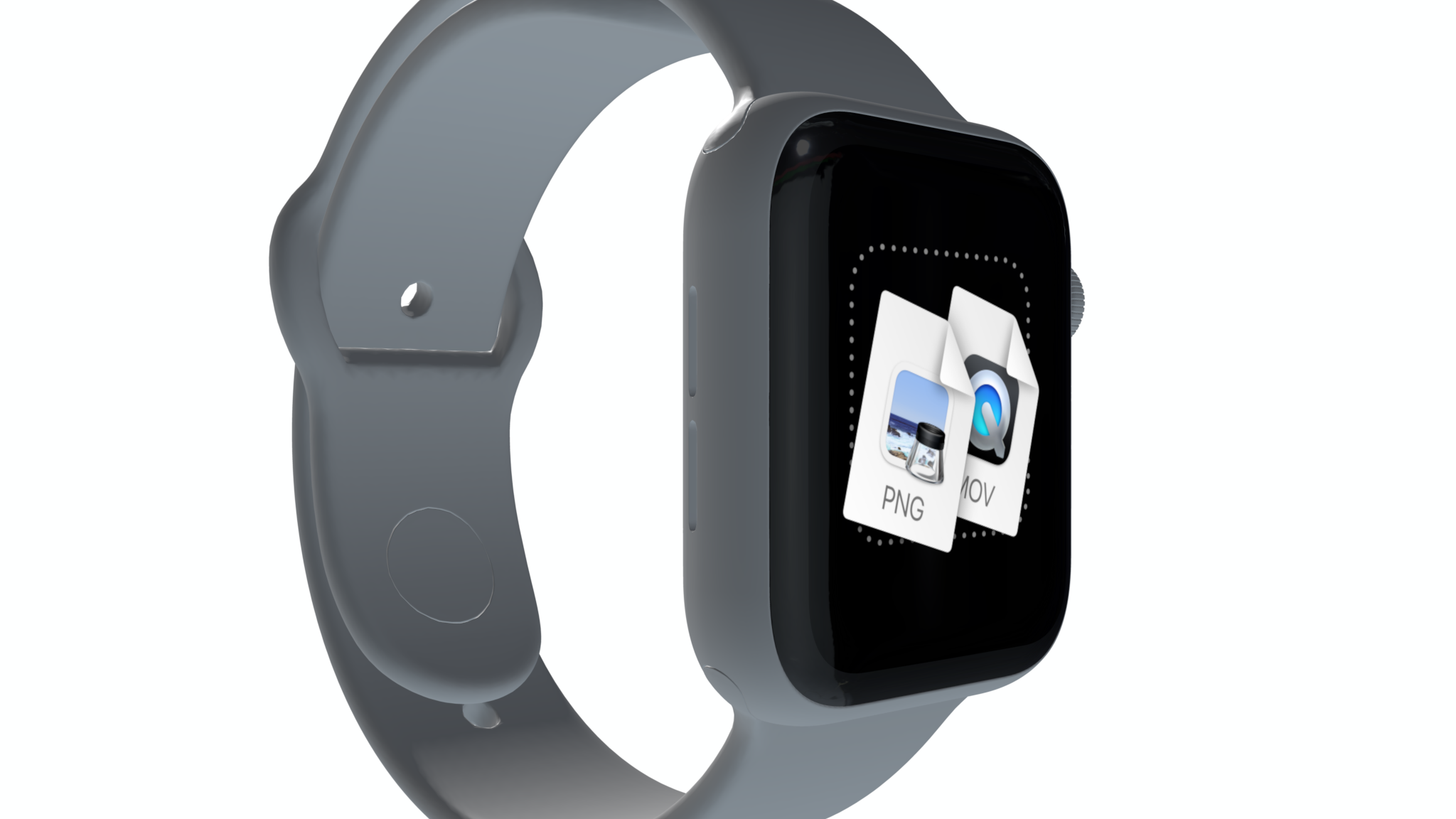 Apple Watch mockup seen from a side, with a gray band