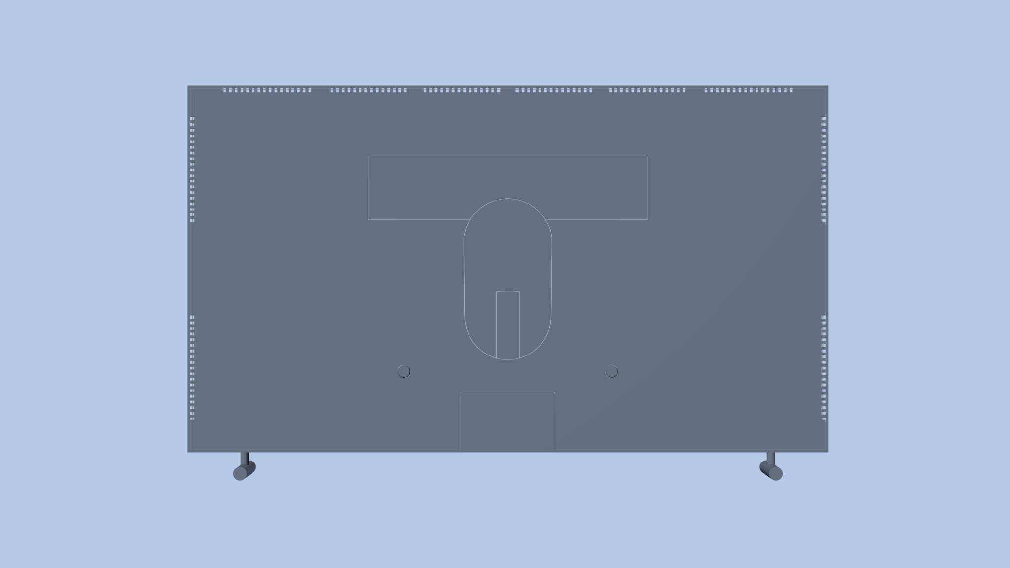 Back of blue tv mockup on blue background