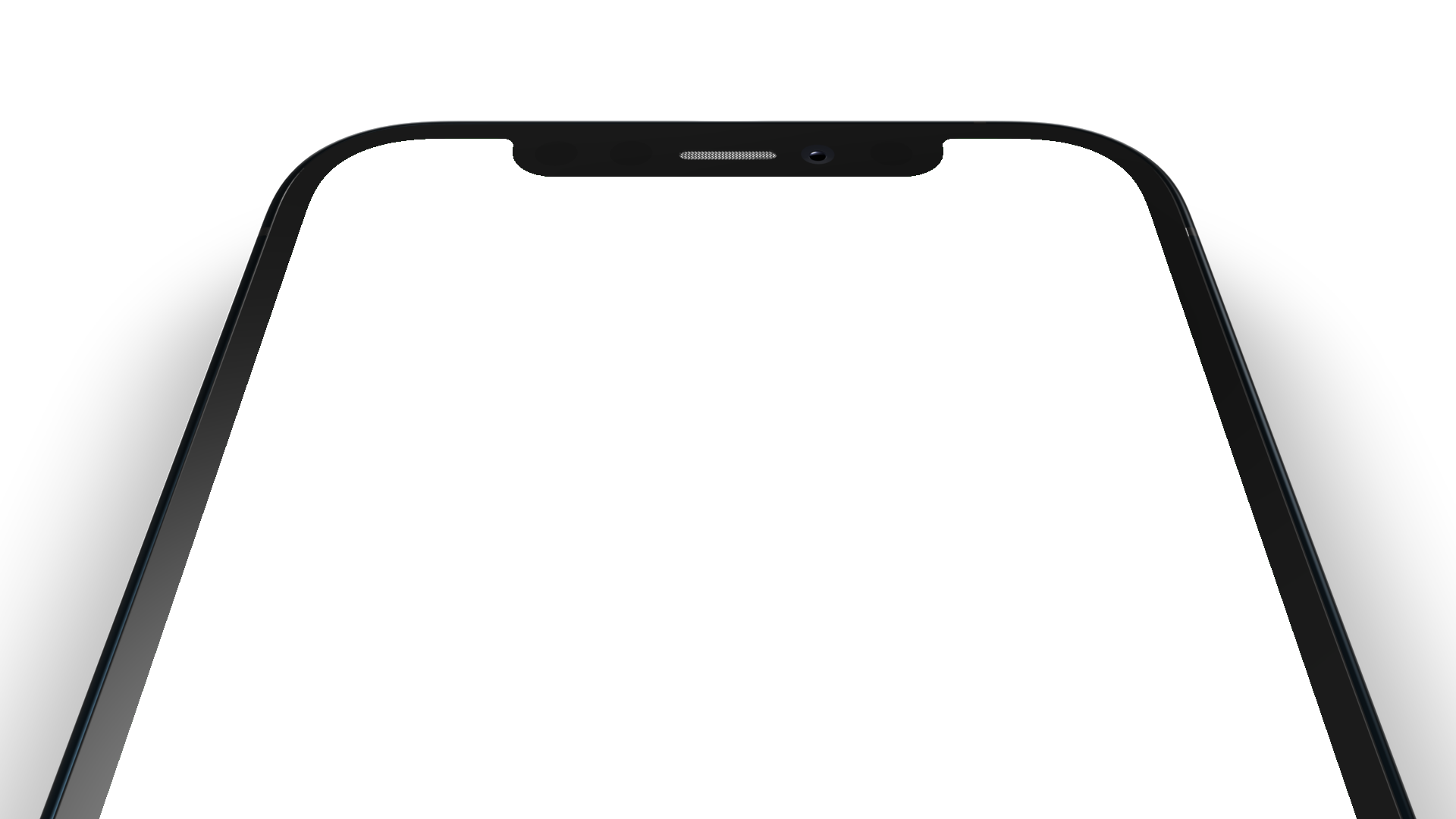 iPhone X PNG seen from the top, rotated away from the camera