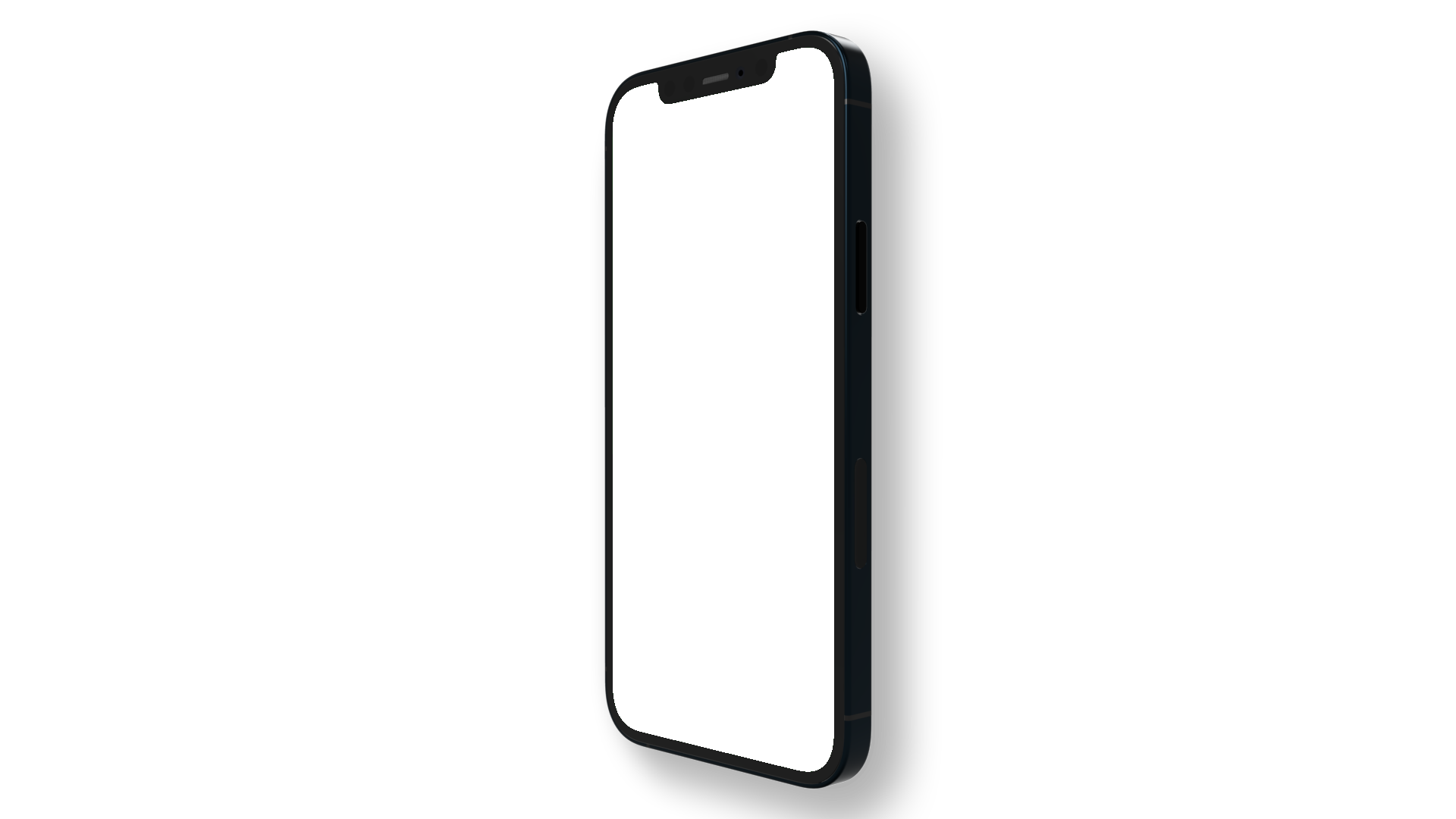 An iPhone 12 PNG seen from the side in upright position