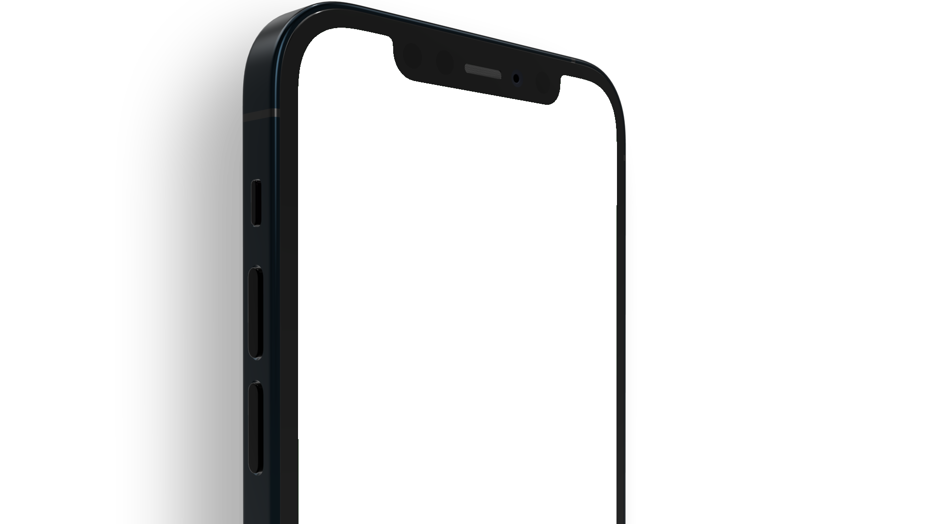 Top half of an iPhone 12 PNG seen from the side